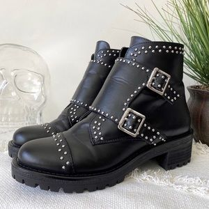 DESIGN LAB Lord&Taylor studded black combat boots